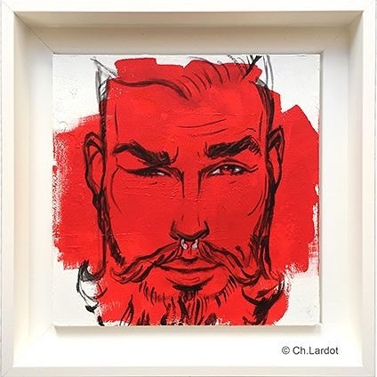RED STAIN SERIE / SIMONE - Acrylic painting on wood board (20 cm)