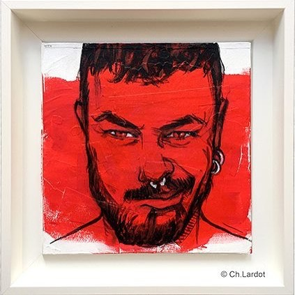 RED STAIN SERIE / ALESSANDRO -  Acrylic painting on wood board (20 cm)