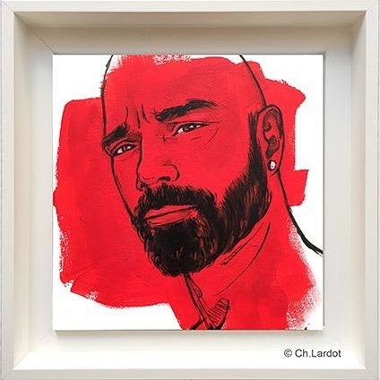 RED STAIN SERIE / BERTRAND - Acrylic painting on wood board (20 cm)