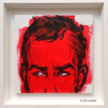 RED STAIN SERIE / BENCE - Acrylic painting on wood board (20 cm)
